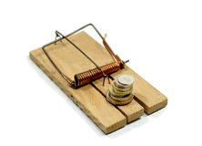 Money on mouse trap Royalty Free Stock Images