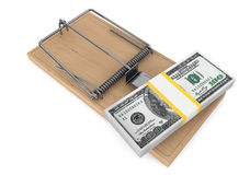 Money in a mousetrap. On a white background Royalty Free Stock Photo