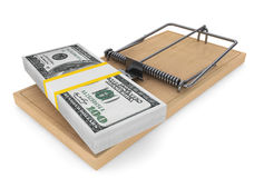 Money in a mousetrap. On a white background Stock Photo