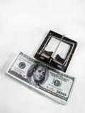Money in a mousetrap Stock Photos