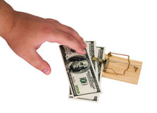 Money in a mousetrap Stock Images