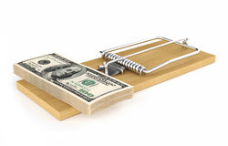 Money in a mousetrap. Pack of dollars. Money in a mousetrap. Finance white background Royalty Free Stock Photography