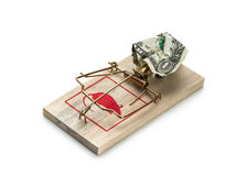 Money in a mousetrap Stock Photo