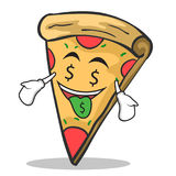 Money mouth face pizza character cartoon. Vector illustration Stock Image