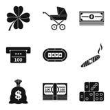 Money multitude icons set, simple style. Money multitude icons set. Simple set of 9 money multitude vector icons for web isolated on white background Stock Photos