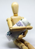 Money in my mind, wooden dummy Stock Photography