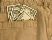 Money in My Pocket - Khaki Pants Royalty Free Stock Image