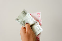 Money in need. Hand holding only 2 notes Stock Photography
