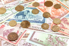 Money from Nepal, various Rupee banknotes and coins Stock Photography