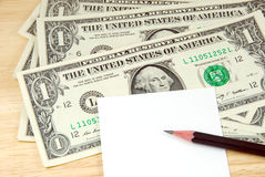 Money and note pad. Stock Image