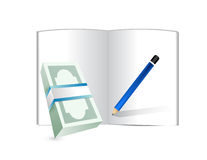 Money, notepad and pen illustration design Stock Photo