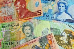 Money Notes Bills - New Zealand. New Zealand money - NZ Dollar bills Stock Images