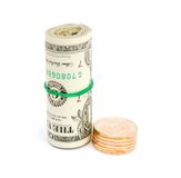 Money notes and coins Stock Images