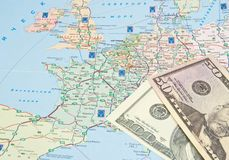 Money notes on the European map Royalty Free Stock Photography