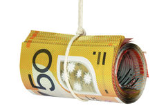 Money notes on string Royalty Free Stock Photo