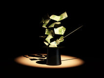 Money from nowhere. magic. Money from nowhere on white background. magic. 3d Royalty Free Stock Images