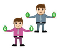 Money - Office and Business People Cartoon Character Vector Illustration Concept Stock Photo