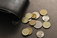 Money with old coins. royalty free stock image