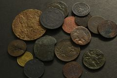 Money with old coins. stock image