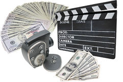 Money, old movie camera and clapperboard on a whit. E background Stock Image