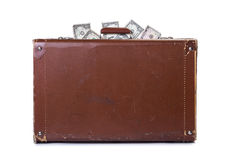 Money in an old suitcase Royalty Free Stock Photography