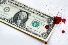 Money one dollar usa in blood criminal Stock Image