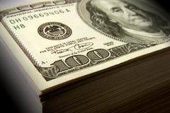 MONEY ONE HUNDRED DOLLAR STACK Stock Photos