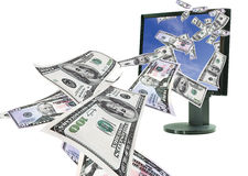 Money online. Stream of Money flying from computer monitor sky. 50s and 100s Royalty Free Stock Image
