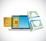 Money online credit card concept. illustration. Design over a white background Stock Image
