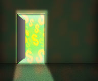 Money for Open Door Background Royalty Free Stock Photography