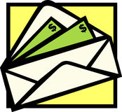 Money order. Illustration of an envelope with money bills Royalty Free Stock Image