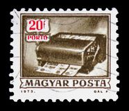 Money order cancelling machine, Postage Due serie, circa 1973. MOSCOW, RUSSIA - FEBRUARY 10, 2019: A stamp printed in Hungary shows Money order cancelling royalty free stock images