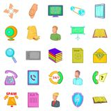 Money order icons set, cartoon style Royalty Free Stock Photography