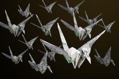 Money Origami Birds Fleet Royalty Free Stock Image