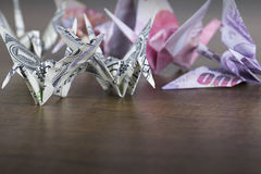 Money Origami Birds. With lower copy space Stock Photography