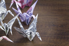 Money Origami Birds. With right copy space Stock Photography