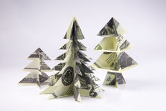 Money Origami Christmas tree. Christmas tree origami made of banknotes dollar. Handmade Stock Images