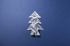 Money Origami Christmas tree. Christmas tree origami made of banknotes dollar. Handmade Stock Image