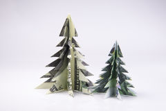 Money Origami Christmas tree Royalty Free Stock Images