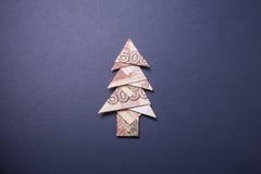 Money Origami Christmas tree. Christmas tree origami made of banknotes rubles. Handmade Royalty Free Stock Photo