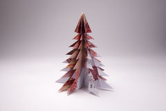 Money Origami Christmas tree. Christmas tree origami made of banknotes rubles. Handmade Stock Photo