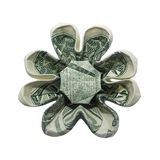 Money Origami Eight Petals FLOWER Real One Dollar Bill Isolated on White Background. Money Origami Eight Petals FLOWER Folded with Real One Dollar Bill Isolated royalty free stock image