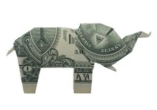 Money Origami Eye ELEPHANT Folded with Real One Dollar Bill Isolated on White Background. Money Origami Eye ELEPHANT Animal Folded with Real One Dollar Bill stock image