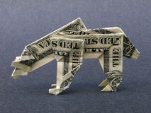 Money Origami Polar Bear - Dollar Bill Art royalty free stock photo