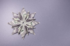 Money Origami snowflake Stock Photos