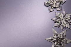 Money Origami snowflake. Snowflake origami made of banknotes dollar Handmade Royalty Free Stock Images