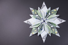 Money Origami snowflake Stock Photo