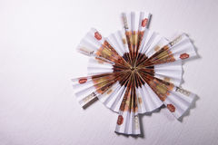 Money Origami snowflake. Snowflake origami made of banknotes rubles. Handmade Stock Image