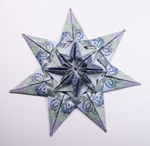 Money Origami snowflake. Snowflake origami made of banknotes rubles. Handmade Royalty Free Stock Images