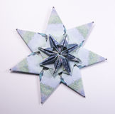 Money Origami snowflake. Snowflake origami made of banknotes rubles. Handmade Royalty Free Stock Photography